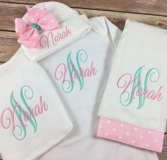 This custom monogrammed baby gown and beanie is the most unique baby this custom monogrammed baby gown and beanie is the most unique baby gift and coming home negle Image collections
