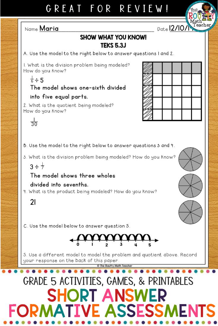 Short Answer Quizzes Grade 5 Teks Math Assessments Math Assessment Math Teks Math