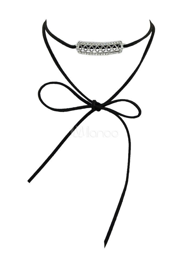 Collar negro detalles metálicos en capas estilo informal - Milanoo.com
