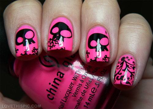 Pink and Black Skull Nail Design - Pink Skull Nail Art Nails Pink Nail Polish Nail Skull Skulls