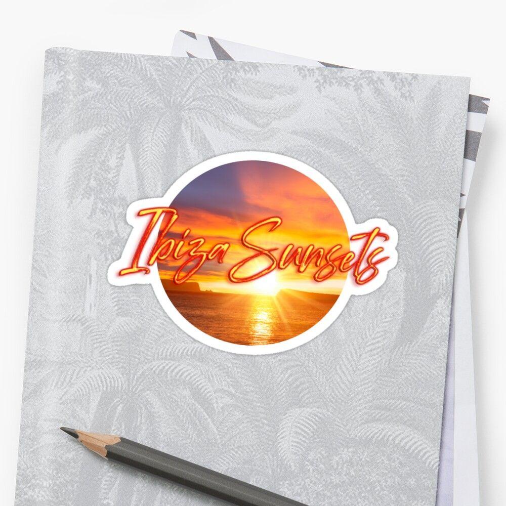 Pegatina con una puesta de sol y el texto Ibiza Sunsets