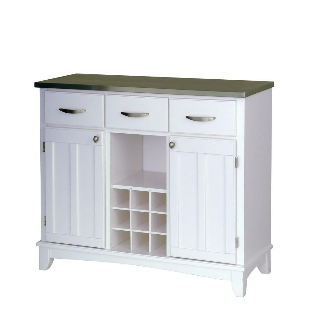 Homestyles White And Stainless Steel Buffet With Wine Storage 5100 0023 The Home Depot Furniture White Sideboard Buffet White Buffet