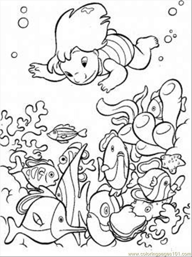 ocean animals coloring page with lilo - Ocean Animals Coloring Pages