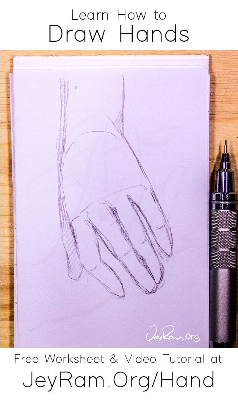 How To Draw Hands Free Worksheet Video Tutorial In 2020 How To Draw Hands Learn To Draw Free Hand Drawing