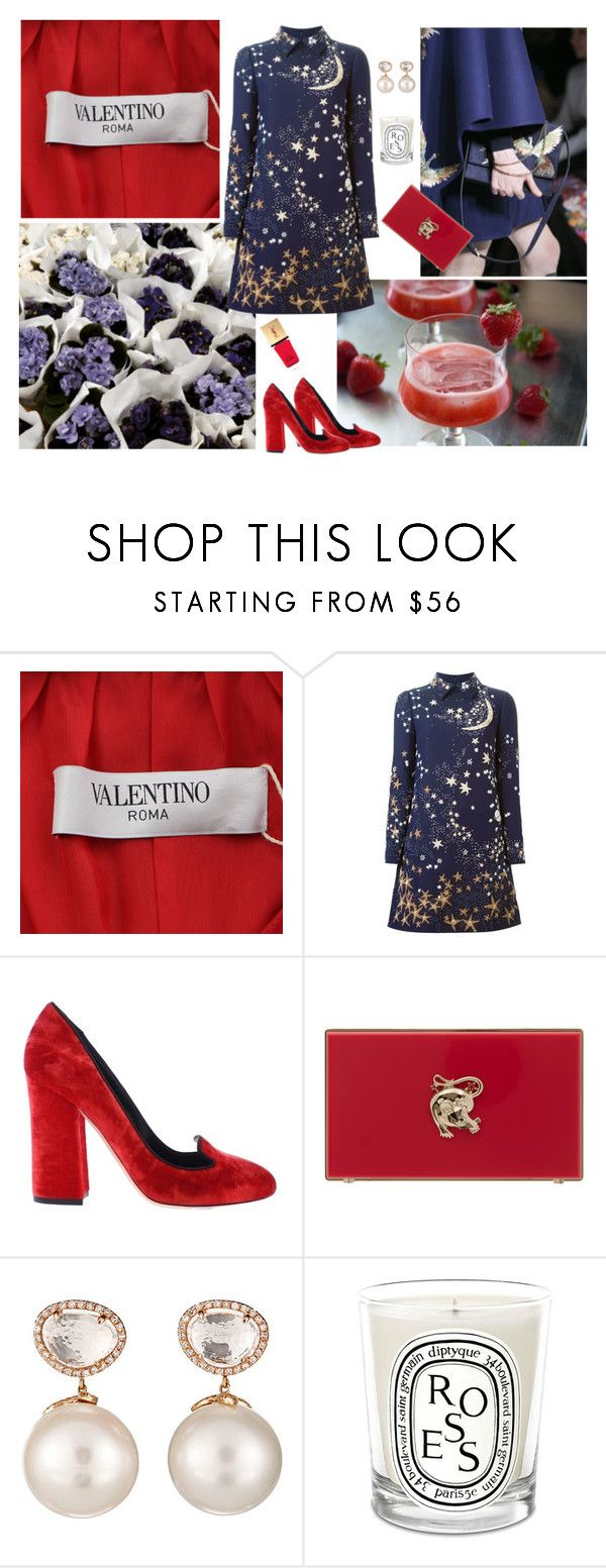 """""""Rouge et Bleu"""" by maiibria ❤ liked on Polyvore featuring Valentino, Dolce&Gabbana, Charlotte Olympia, Samira 13, Diptyque and Yves Saint Laurent"""