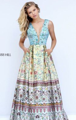 V-Neckline Printed Gown by Sherri Hill 50788
