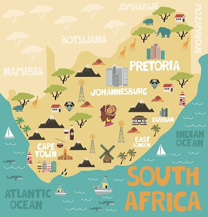 Illustrated Map Of South Africa With Nature And Landmarks Editable Illustrated Map South Africa Nature South Africa Art