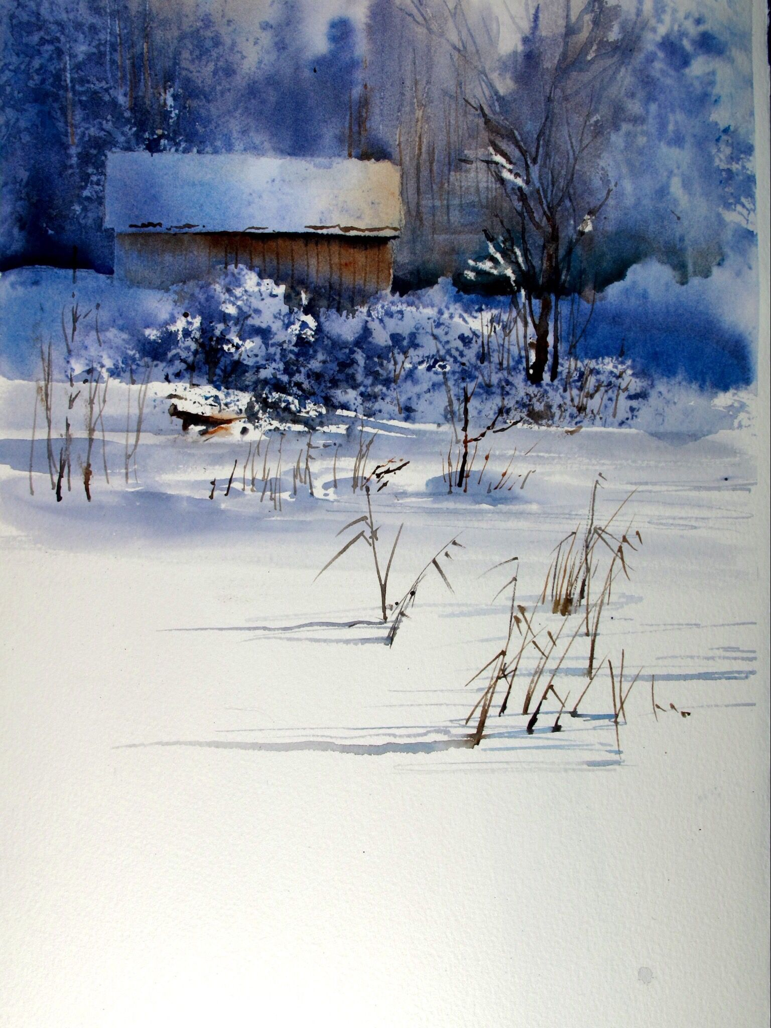 Akvarell Winter Painting Winter Watercolor Watercolor Landscape