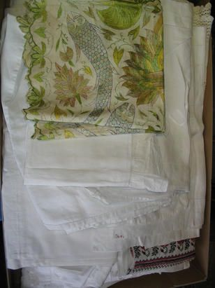 A collection of assorted domestic linen,