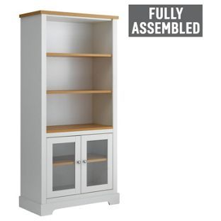 Home Westbury 3 Shelf Glazed Bookcase White Bookcase Tall