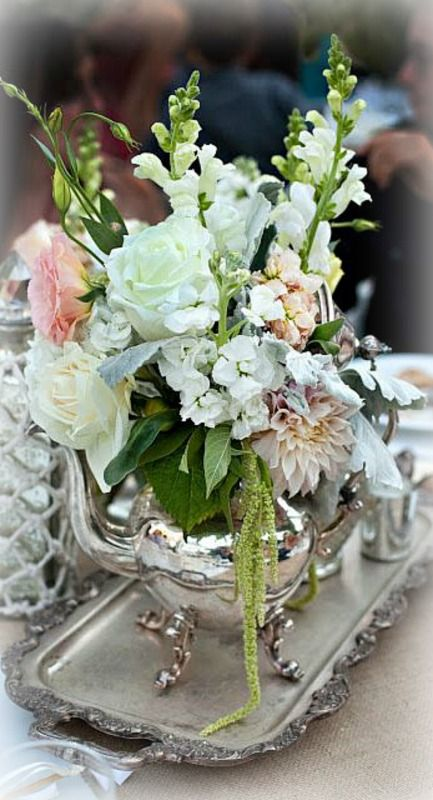 Floral teapot centerpiece rooms with blooms