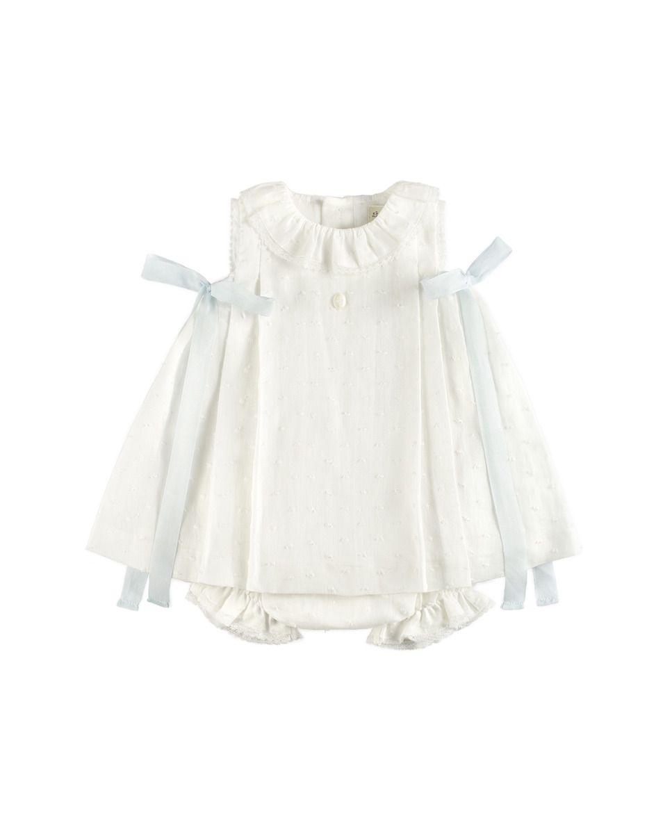 63c4224be Vestido y cubrepañal de bebé niña Pili Carrera de lino en color  nata-celeste ·