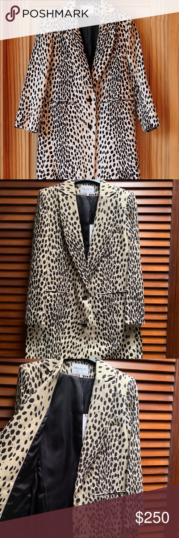 Emerson Fry Wingtip Coat Signature Emerson Leopard print on Belgian linen inspired/adapted from our in-house collection of 1960s Leopard coats. Tailored shoulder and slim sleeve with boxy body fit.  100% heavy weight linen body   Fully lined in satin Center back length is 34