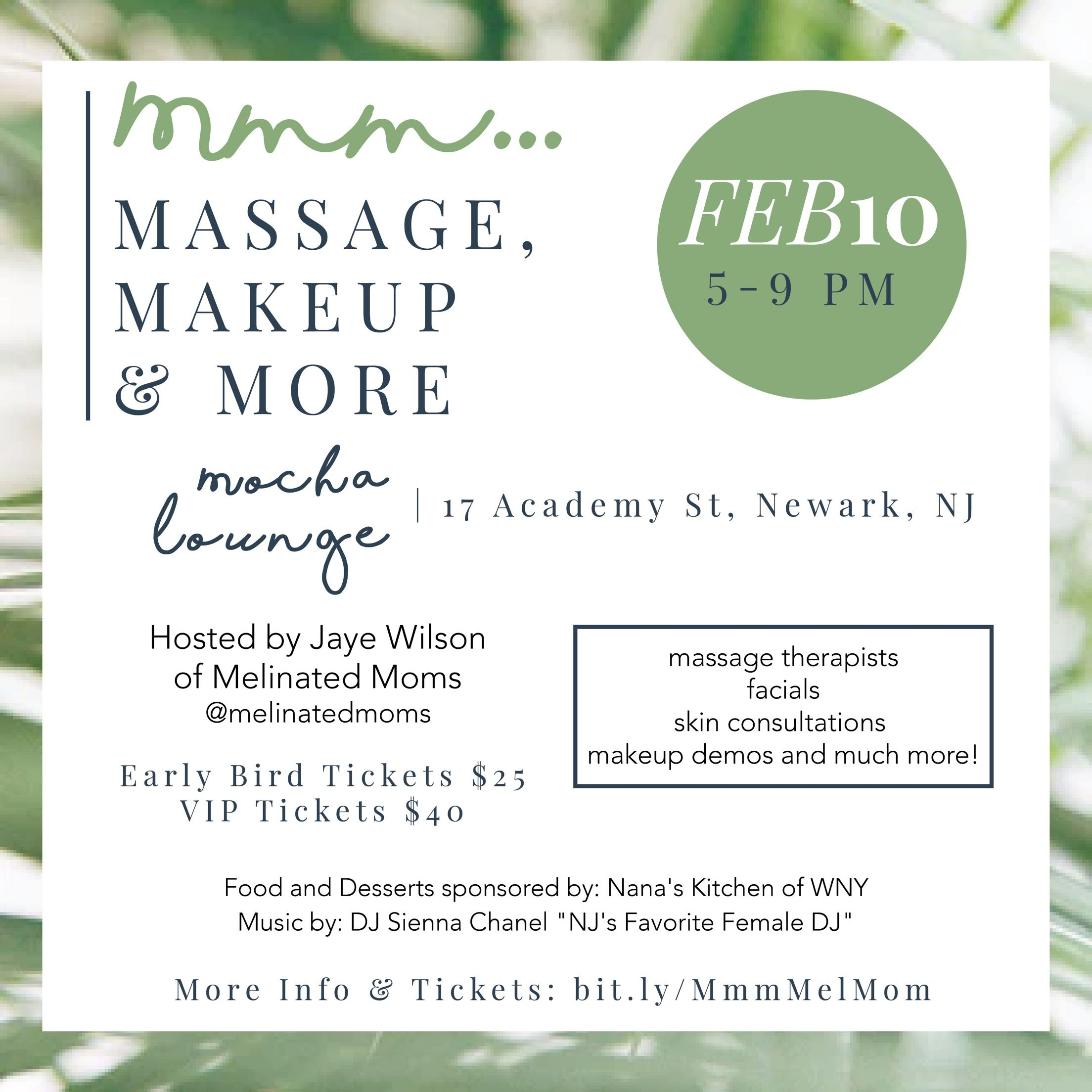 Mmm....Massage Makeup and More February 10, 2018! Get your tickets ...