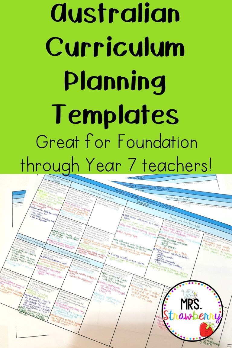 Australian Curriculum Planning Templates If Youre On The Lookout