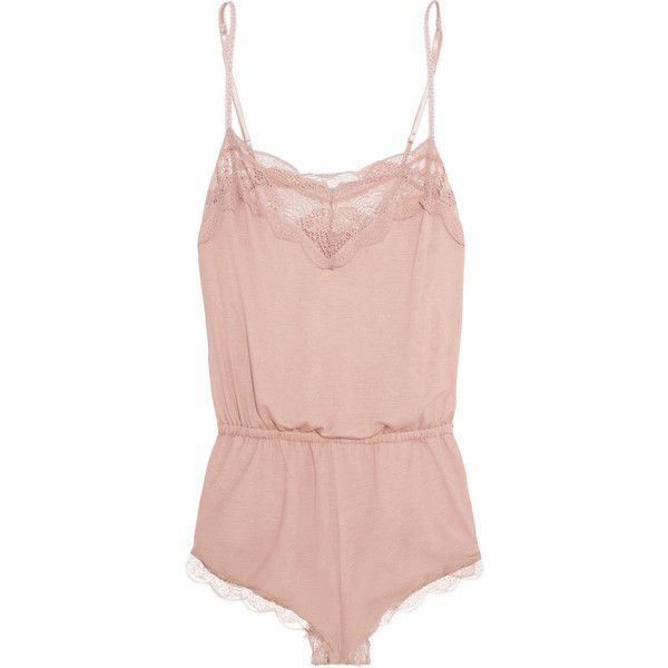 Eberjey Estelle Teddy lace-trimmed stretch-jersey playsuit (€53) ❤ liked on Polyvore featuring intimates, lingerie, underwear, jumpsuits, pajamas, antique rose, stretch jersey, teddy lingerie and eberjey