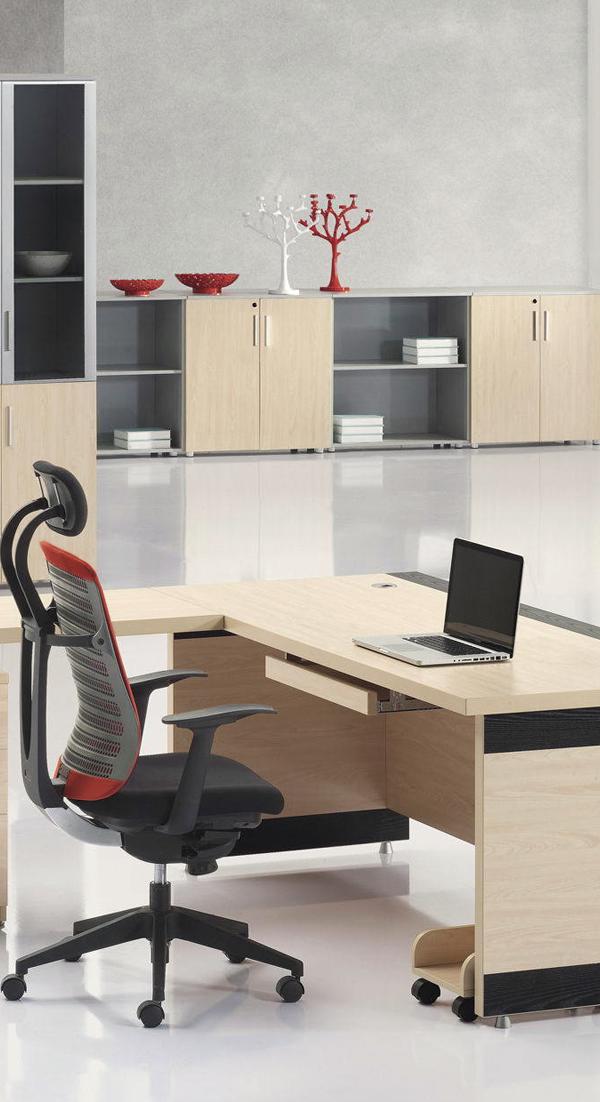 Escritorio ejecutivo tonos maderados y negro escritorio - Escritorios de madera para oficina ...