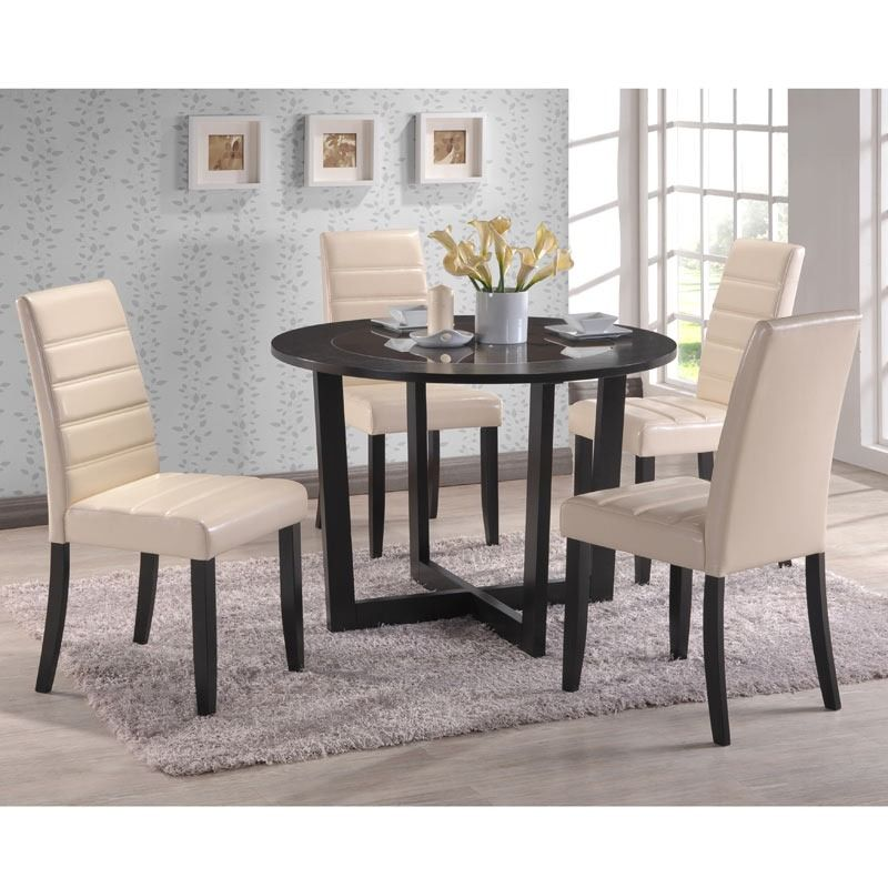 A Dining Set With Cream Chairs And A Table In A Cappuccino Finish