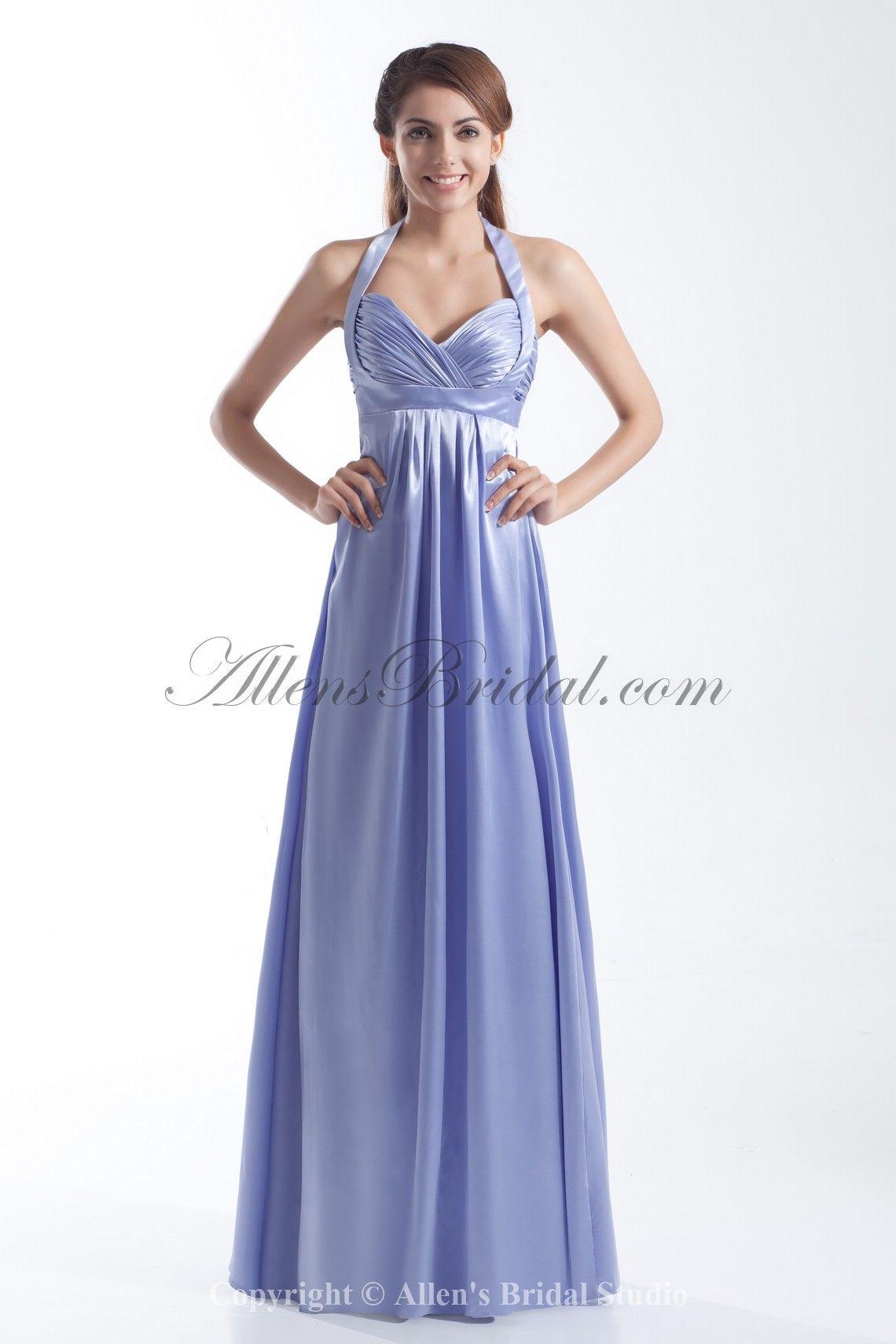 Satin halter neckline floor length column prom dress on sale at