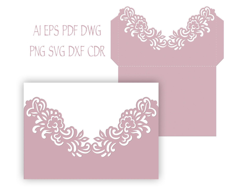 Wilton Wedding Invitations Template: 5x7'' Floral Wedding Invitation Pocket Envelope SVG