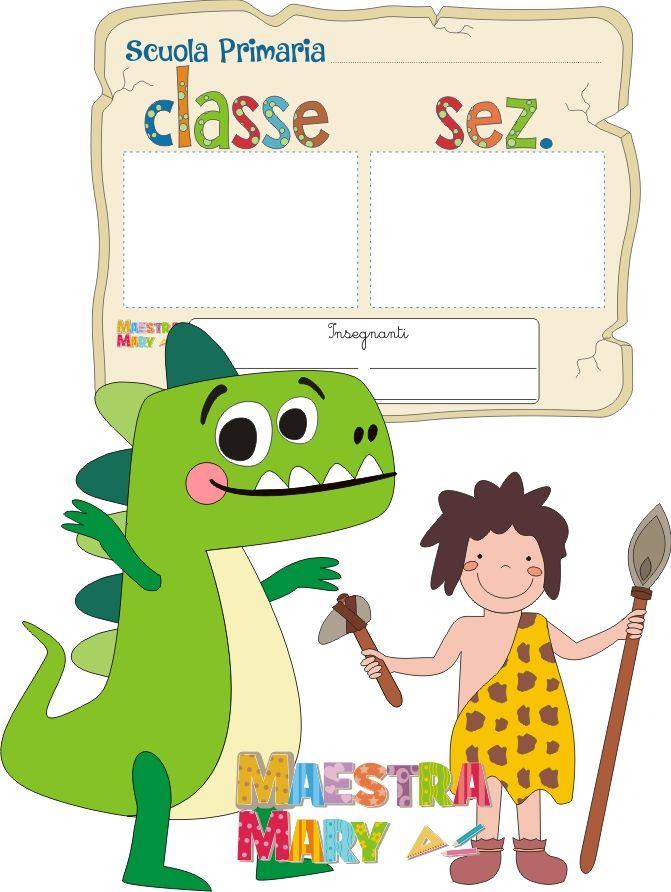 Cartello per la porta con dinosauro e uomo primitivo for Addobbare la porta dell aula