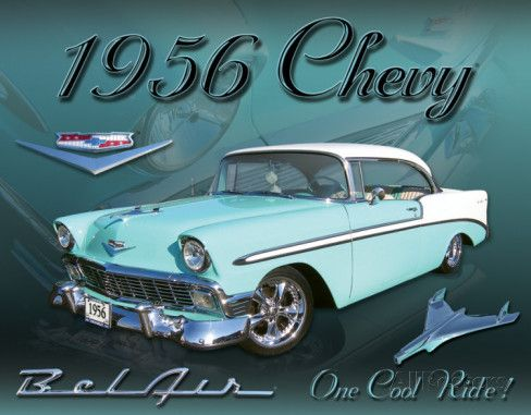 Chevy 1956 Bel Air Tin Sign At Allposters Com 1956 Chevy Bel Air Classic Cars Chevy
