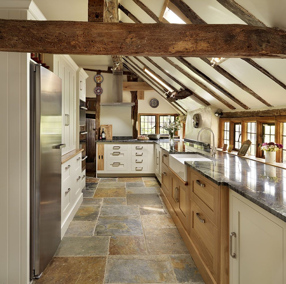 Enticing Country Attic Kitchen Idea With L Shaped Wooden Cabinets In Brown And White Finish And