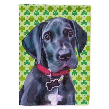 Black Great Dane Puppy St Patrick S Day Shamrock Flag Canvas