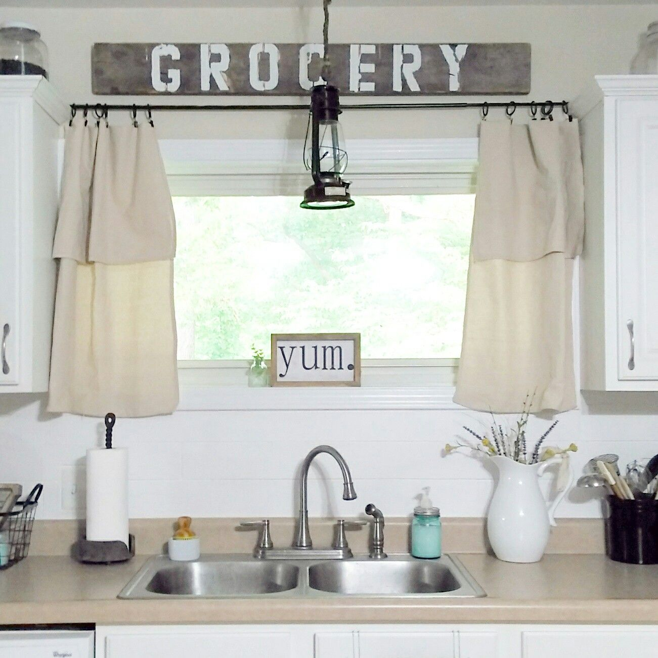 Homeongrassyroad Farmhouse Kitchen Drop Cloth Curtains Shiplap Backsplash Farmhouse Kitchen Curtains Farmhouse Style Kitchen Kitchen Window Curtains