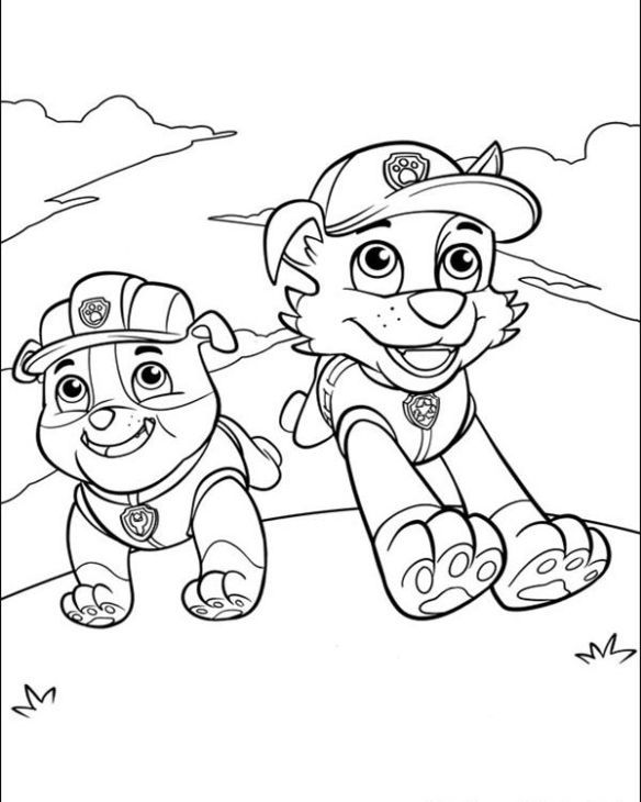 Rubble And Rocky Running Happily In Paw Patrol Coloring Pages