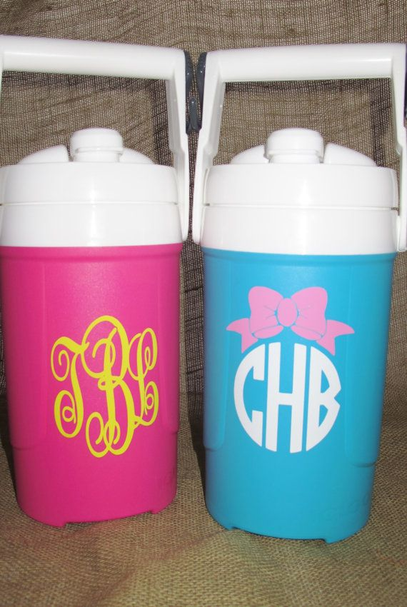 Monogrammed 1 2 Gallon Igloo Sport Cooler By Polkadotpeacockshop Squad Gift Dance Team Gifts Monogram Decal