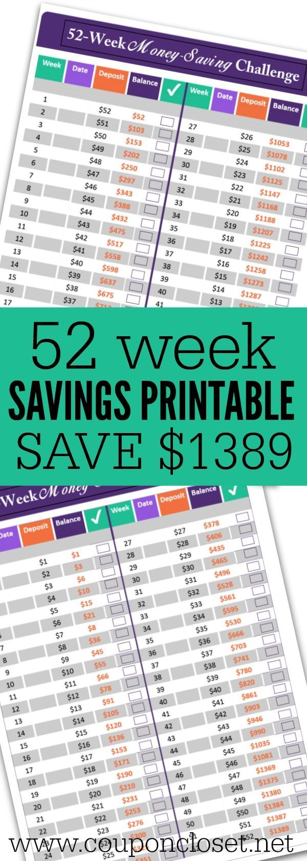 52 Week Money Saving Challenge – Save $1389 without even feeling it ...