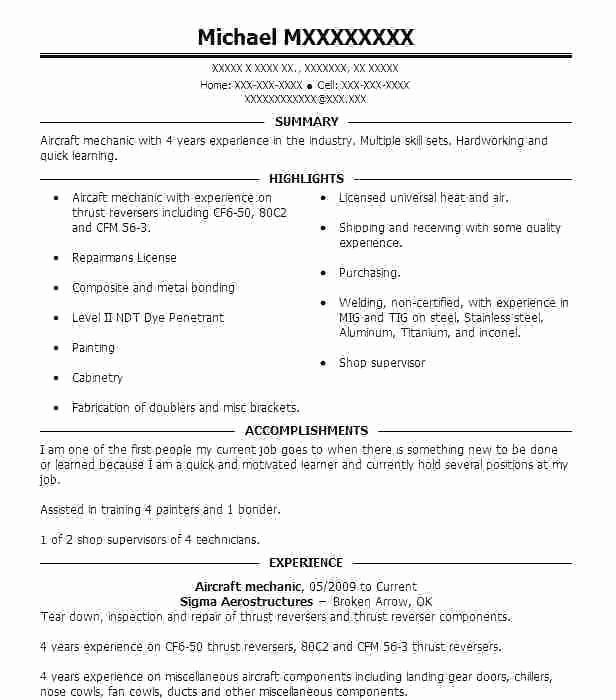 fresh aircraft mechanic resume template in 2020  sample