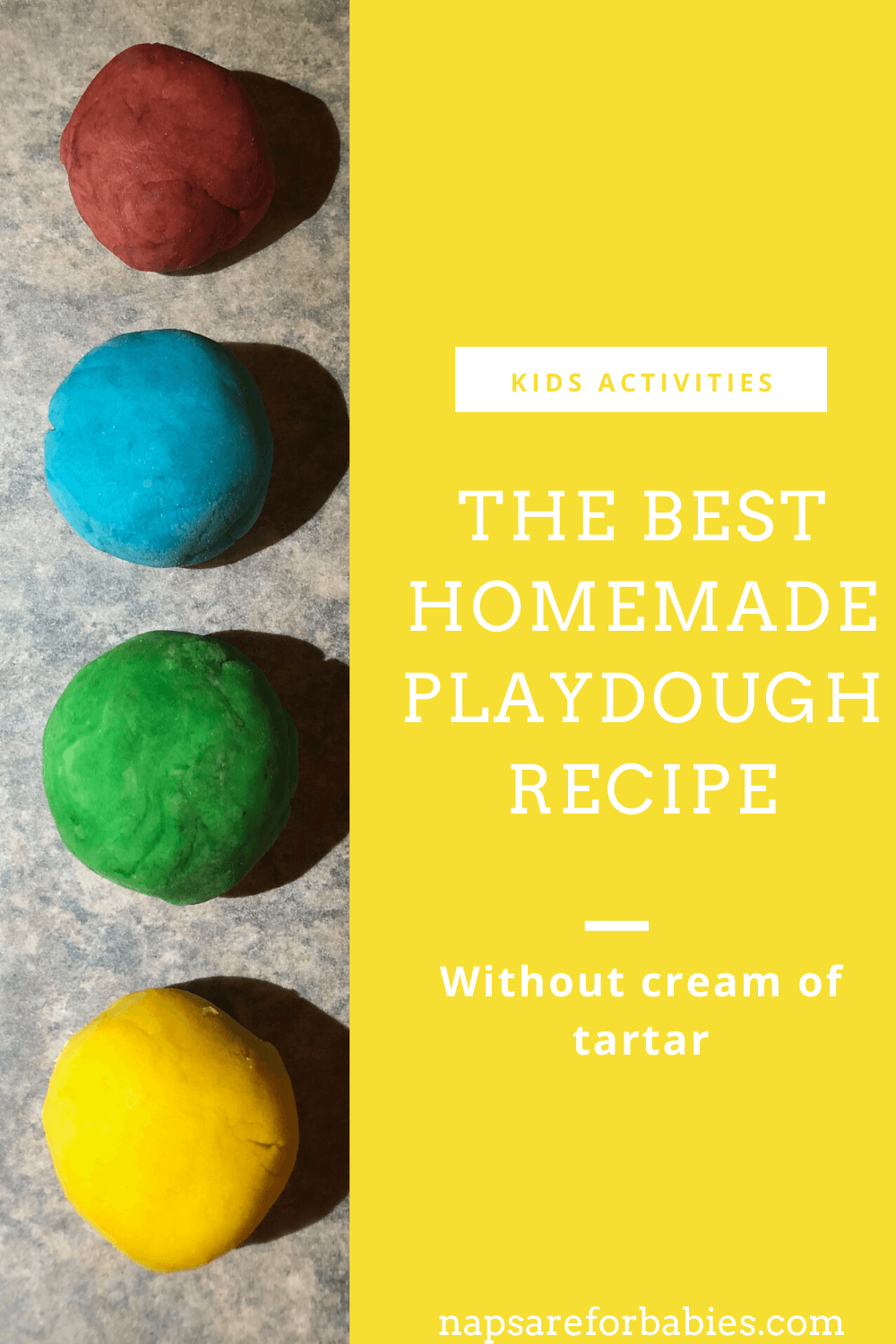 Homemade playdough without cream of tartar {the EASIEST