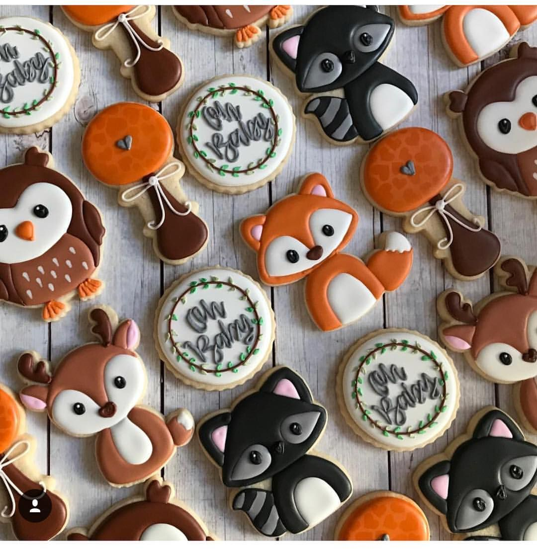 Love The Wild Animal Theme For Baby Showers Thank You Cookie Rouge For Sharing Babyshower Animal Baby Shower Theme Baby Shower Woodland Baby Shower Fall