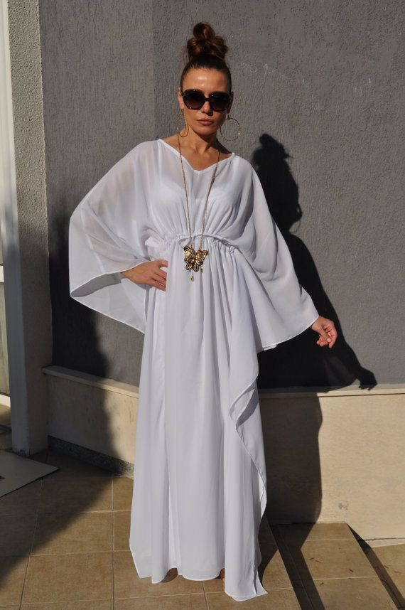 fe051cd43a6f8 Maxi White Kaftan Dress Boho Wedding Dress By InfinityTiffany | Wedding  Interest