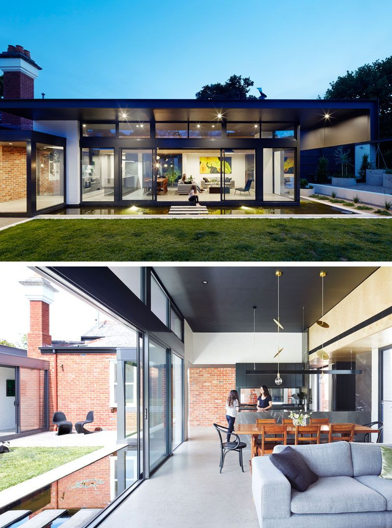 This Modern House Extension Has A Living Room Dining Area And A Kitchen You Can See How The Back Bri Modern Extension House Extensions House Designs Exterior