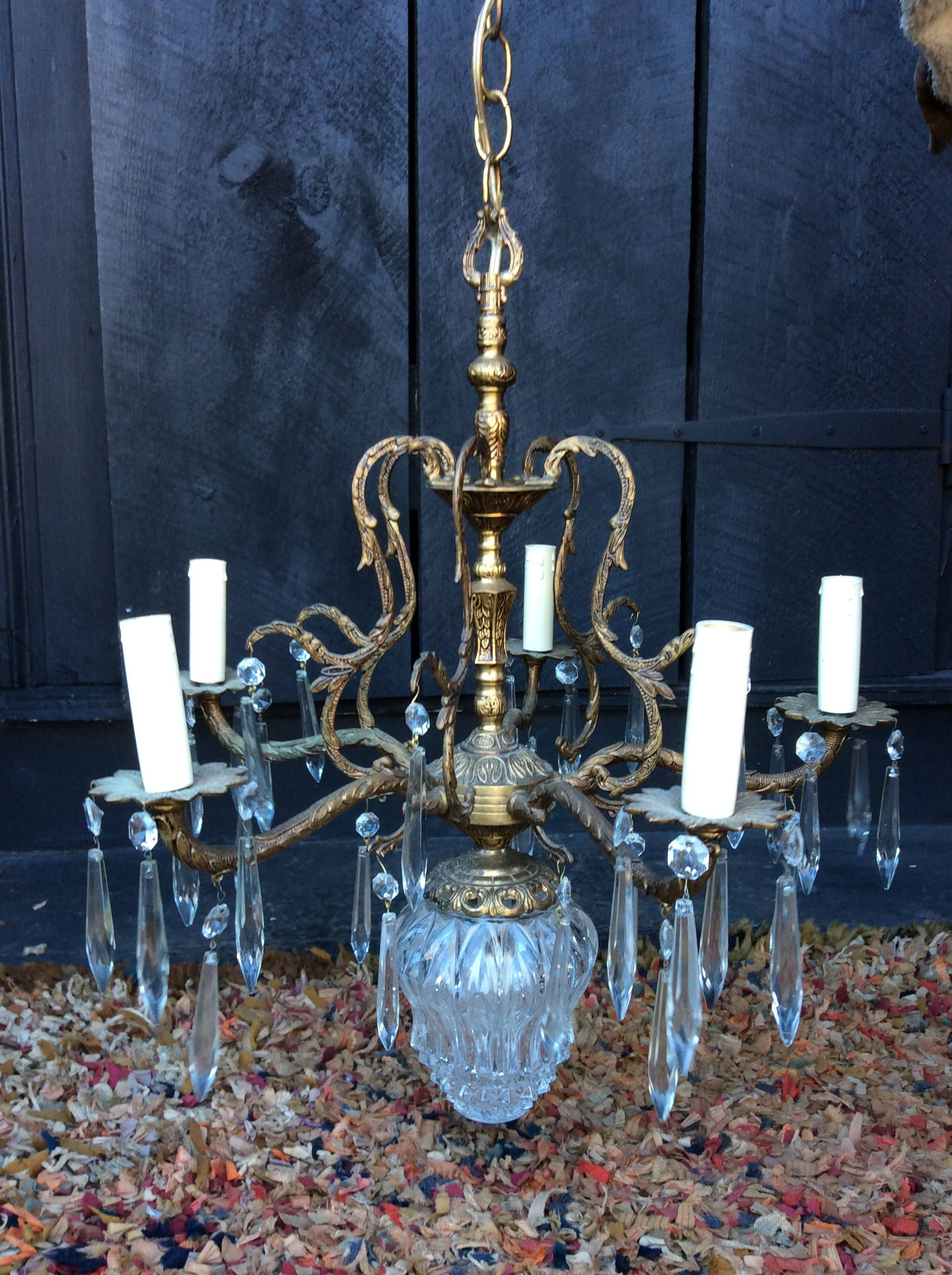 Vintage French Italian Crystal Chandelier Vintage Crystal
