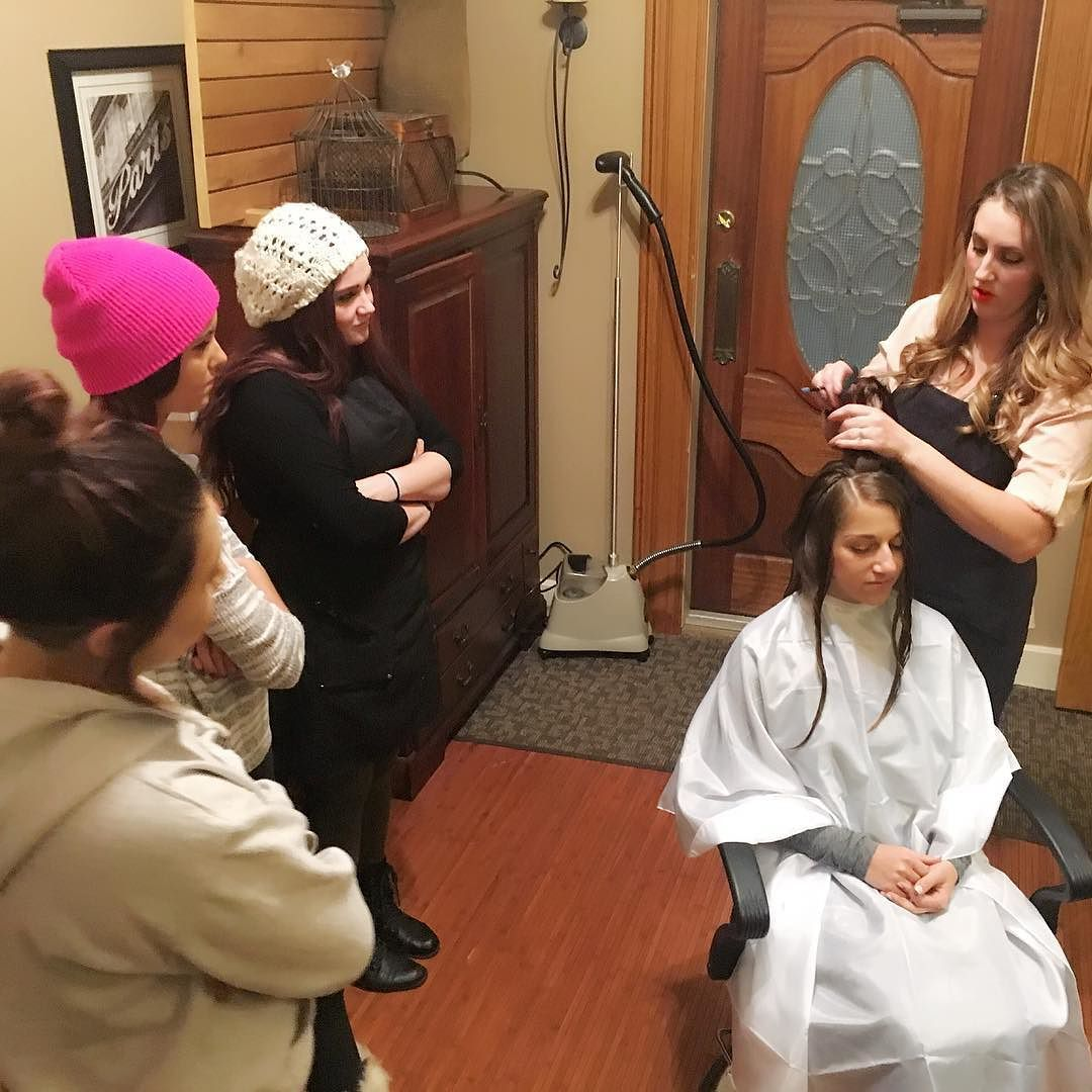 How are we spending this snowy evening?  Learning of course! Elena taught our apprentices the tips and tricks for mastering the long layered cut! #cantstop #wontstop #learning #educationdomination #bumblecut #razorcut #bumblesalon #716salon