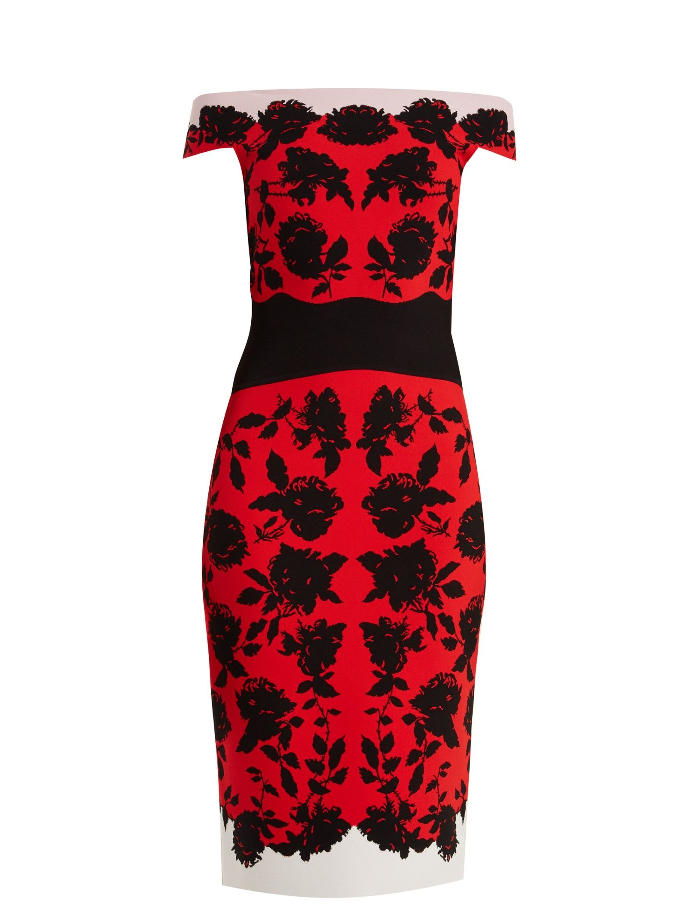 Best Wholesale Online Cheap With Credit Card Off-the-shoulder rose-intarsia dress Alexander McQueen Sale Best Place Cheap The Cheapest Vgngarpy