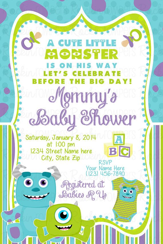 Monsters Inc Inspired Baby Shower Invitation Monster Baby Shower