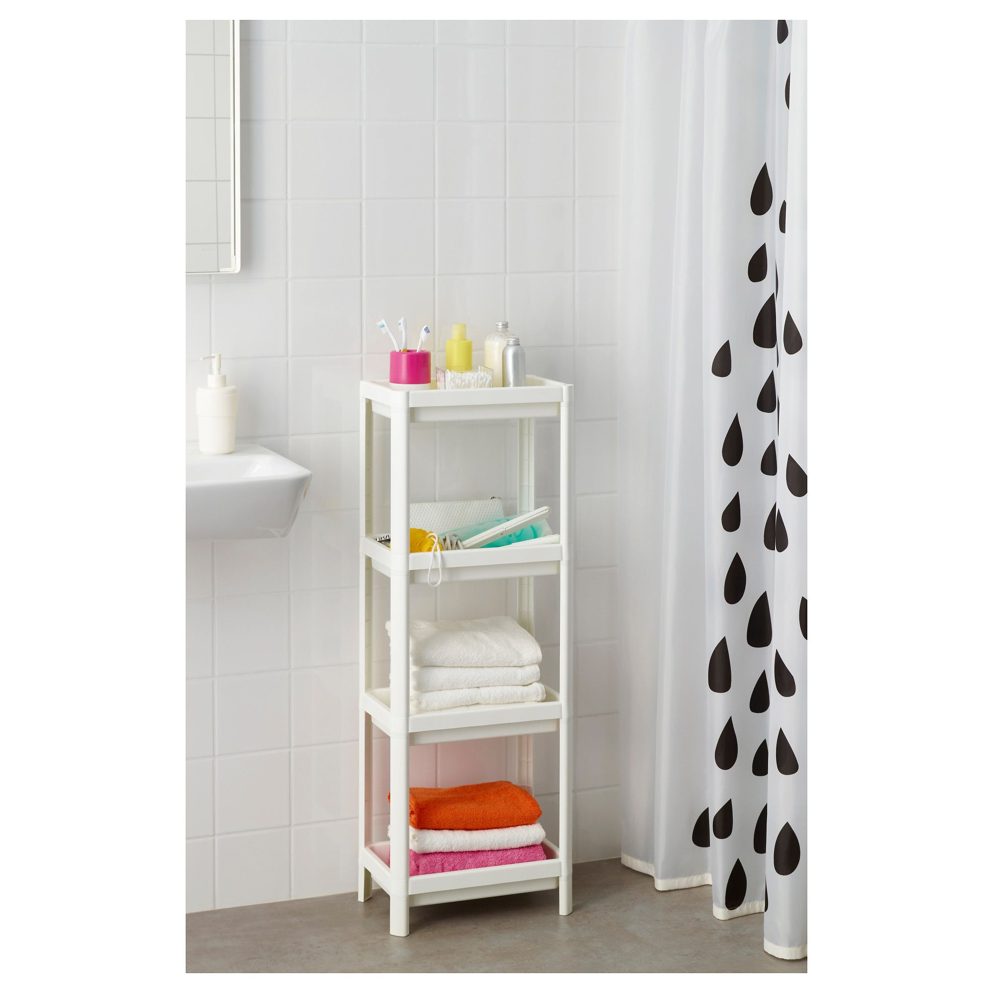 Vesken White Shelf Unit 36x23x100 Cm Ikea Shelf Unit Shelves Ikea Bathroom Shelves