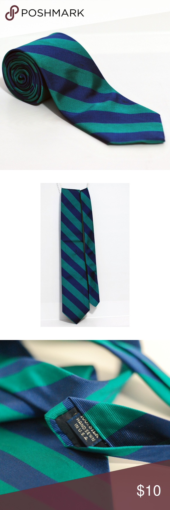 Mens Regular Wide Stripe Hand-sewn Silk Tie - Green Lands End