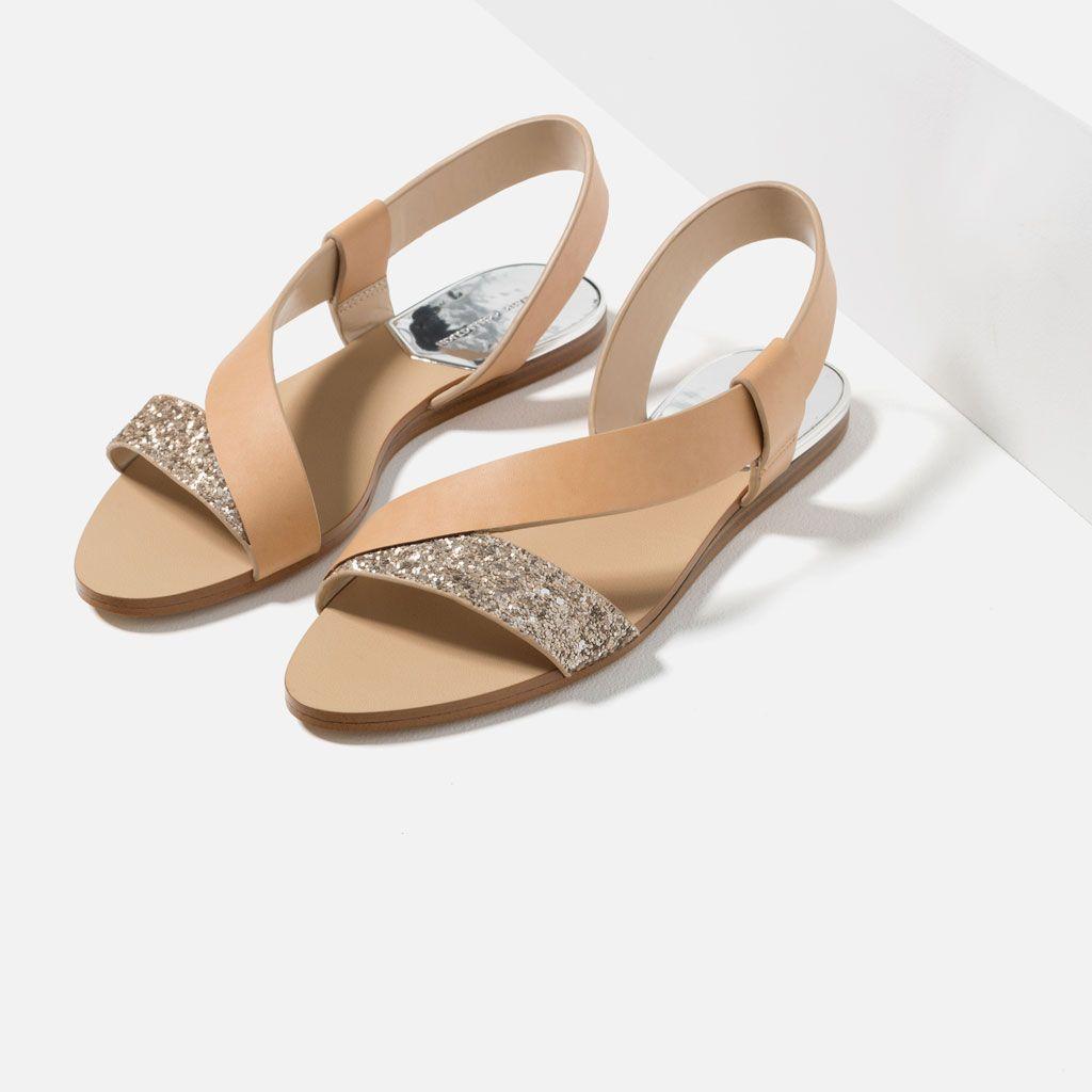 sandales plates À paillettes-tout voir-chaussures-femme | zara