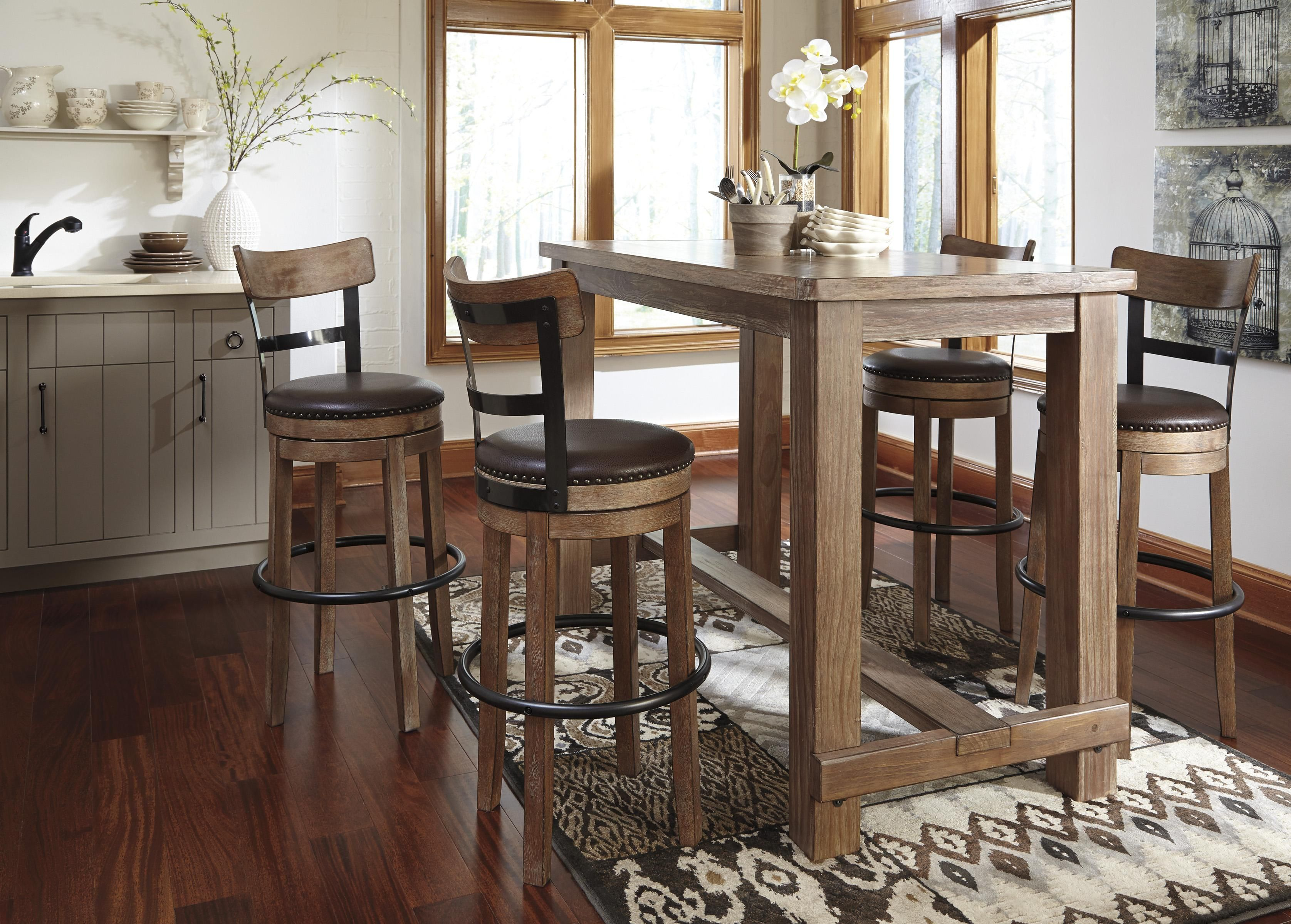 The True Rustic Beauty That Embodies The Vintage Casual Design Has Never  Come To Life More Than With The Look Of The Pinnadel Bar Table Set W/  Swivel ...