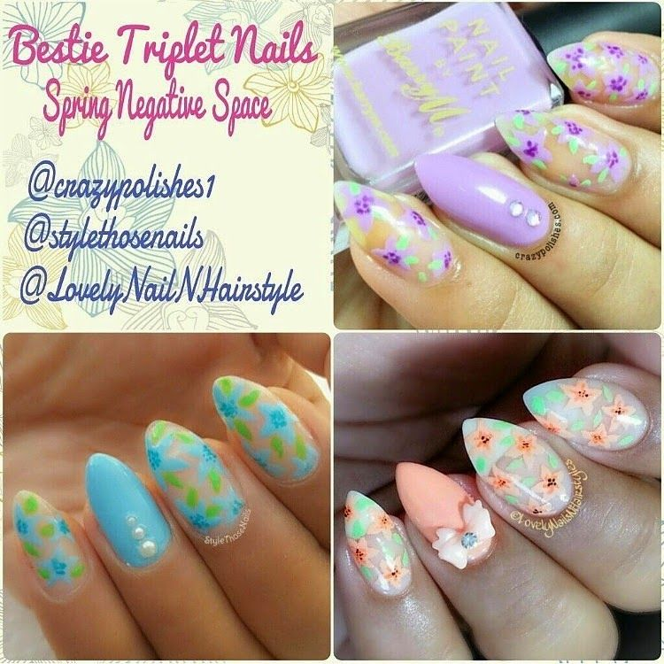 Style Those Nails: Negative Space Floral Nails- Bestie Triplet Nails