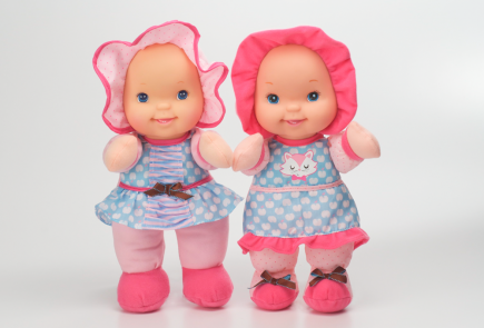 Giggles is a great first doll for babies ages 1+! Press