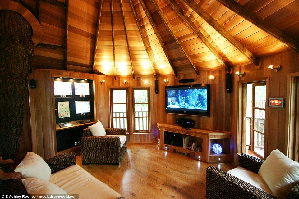 This  tree house features a CCTV security system  and comes fully equipped, complete with a plasma television and games console, meaning that the complex is also a great place for children to hang out and relax with their friends