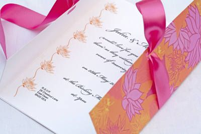Bright Flower Wedding Invitations In Hot Pink And Orange Wedding Invitation Ribbon Flower Wedding Invitation Yellow Invitations
