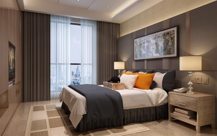 Scarica sfondi moderna camera da letto, design, interni eleganti ...
